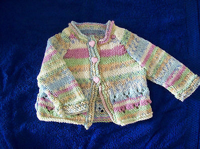 New Hand Knitted Baby Girls Cardigan in a Pink/Blue Multi  Yarn 0-3 months