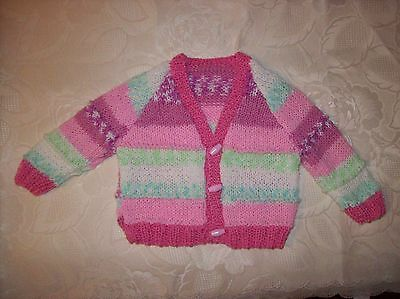 New Hand Knitted Baby Girls Cardigan in a Pink/Green yarn (Alice) 3-6 M