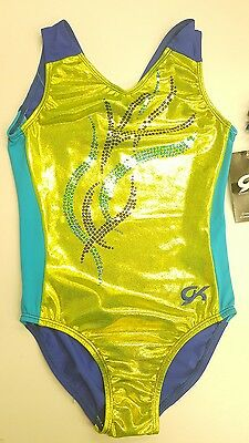 New GK Elite Gymnastics Bodysuit Leotard Lime Green Royal Adult Small AS