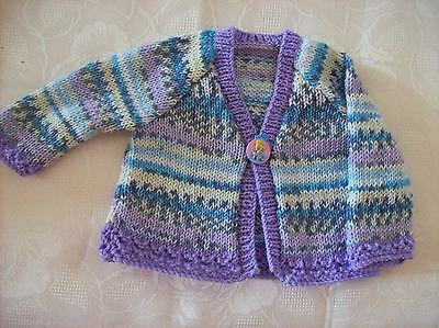 Hand Knitted Baby Girls Cardigan a Blue/Lilac crofter yarn (Connie) 6-9 months