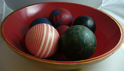 Lot Of 6 Vintage Wood Croquet Balls W/wood Bowl Painted Ribbed Striped Home Deco