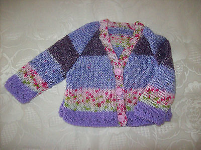 New Hand Knitted Baby Girls Cardigan in a Lilac and Rose pink yarn 0-4 months