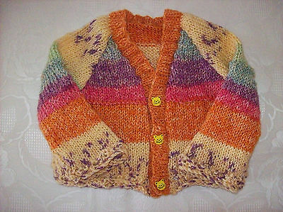 New Hand Knitted Baby Girls Cardigan Orange/yellow (Apricot Mix) 3-6 Months