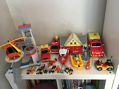 A Huge Fireman Sam Collection Of Play Sets & Books In Perfect Condition