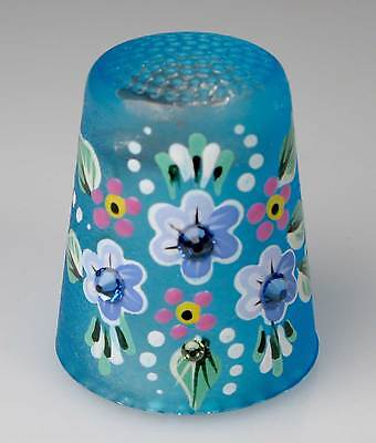 Thimble glass blue decorated