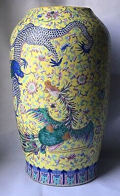 Important Vase Chine Guangxu Dragon - Chinese Porcelain Famille Verte Qing 19 Th