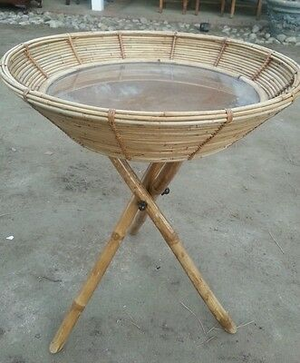 Vintage Tripod Bamboo Light Brown with Glass Top Tray Table 29x24