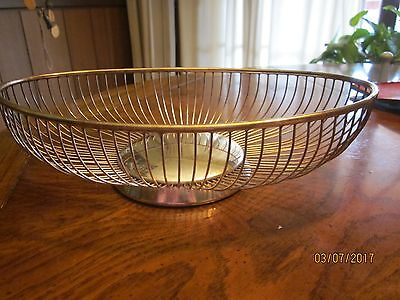 Vintage Mid- Century Modern EALES ITALY ART DECO WIRE BREAD fruit BASKET silver