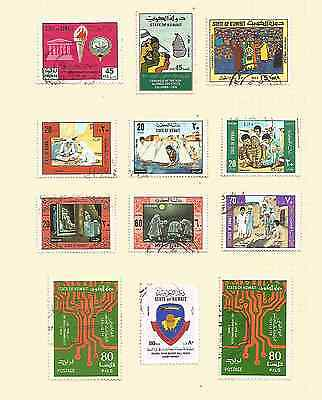 12 Stamps ( State of Kuwait ) 1977 F/U & L/H on Sheet