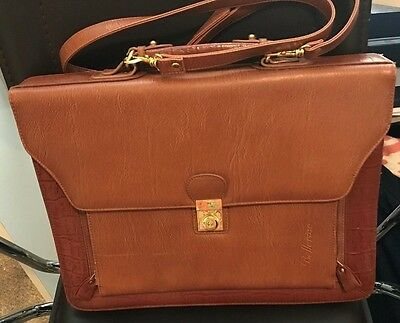 Belle RoseTan Womens Faux Leather Attorney Business Briefcase Attache Case