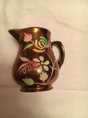 Vintage Wade hand painted cream jug - Copper Colour With Floral Design