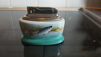 Minton China Vintage fish-salmon Table Lighter hand painted signed A holland