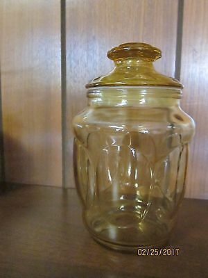 """Vintage Pressed Glass Amber Gold Apothecary JAR / CANISTER w Lid 7 1/2 """""""