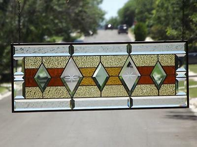 "•Warm & Inviting •Beveled Stained Glass Window Panel • 30 ½""-11 ½"" (78x 29 Cm)"