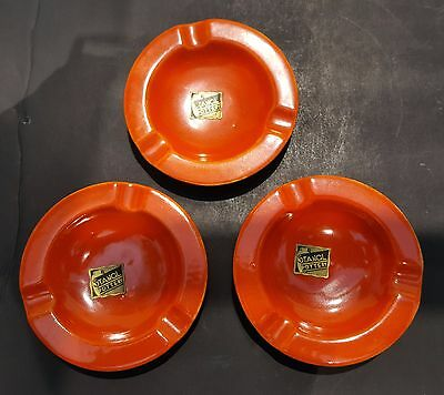 3 Stangl red individual ashtrays w/ original labels