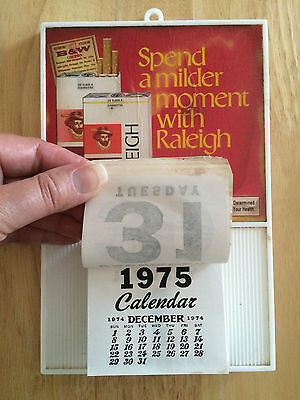 Vintage 1974/1975 Raleigh Cigarettes Day at a Time Wall Calendar **RARE**