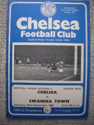 1962....CHELSEA v SWANSEA TOWN.....Div Two...... Football Programme