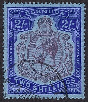 Bermuda 1924 SG88 2/- Purple and Blue Flaw 52A 2nd Printing