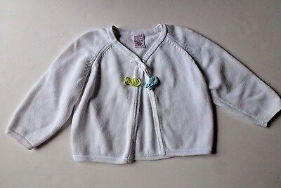 18-24M GYMBOREE SPLASH White Cotton Knit Sweater Cardigan Crochet FISH