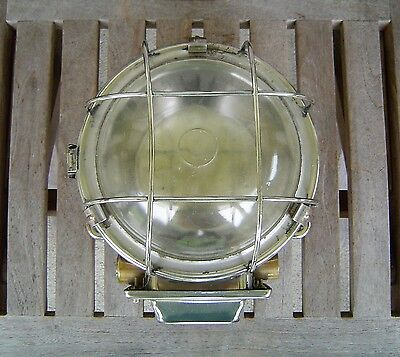 Vintage Stainless Steel Nautical Ship's Ceiling Light Fixture Rewired (Lot C)