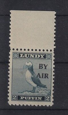 #01 Great Britain Lundy Island Puffin Stamp 1950 BY AIR Narrow O/pr Cat #71 2p