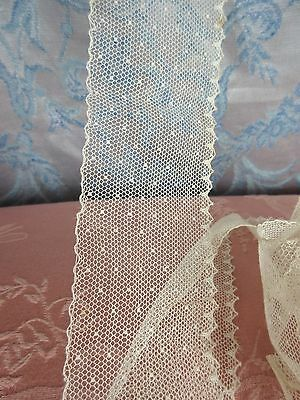 """Antique Dotted Net Lace Point d'Esprit French Doll,All Bisque Dress Trim 48""""x 2"""""""