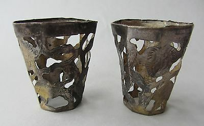 """2 Antique Silver Glass Overlay Cups Cutwork Etched Floral  2"""" tall"""