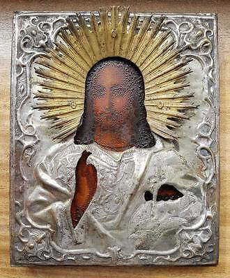 Russian icon (late 19th) - The Christ Pantocrator in silvered metall oklad