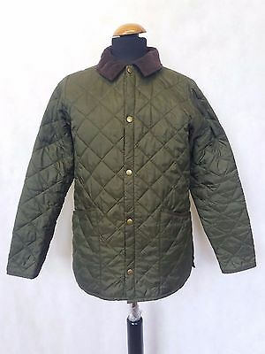 C593 Boys / Girls  Babour Liddesdale Green Quilt Jacket Age 12-13 Yrs