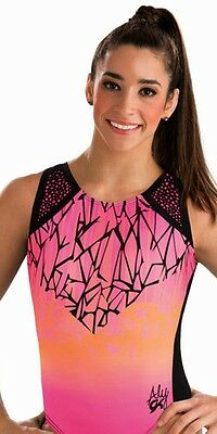 New GK Elite Gymnastics Bodysuit Leotard Aly Raisman Pink Shatter Child Small