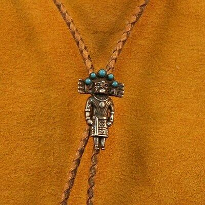 Vintage Native American Sterling Silver Turquoise Kachina BOLO Tie