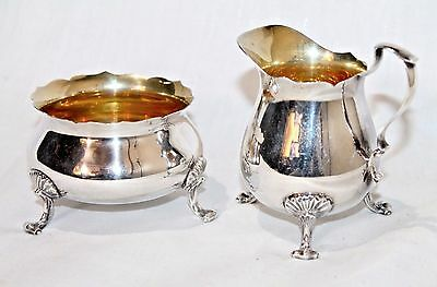 Vintage Poole Sterling Silver -  Footed Creamer & Sugar Bowl - Pattern #115