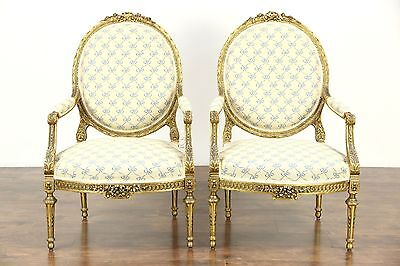 Pair of Carved Burnished Gold Louis XVI French Style Large Vintage Chairs