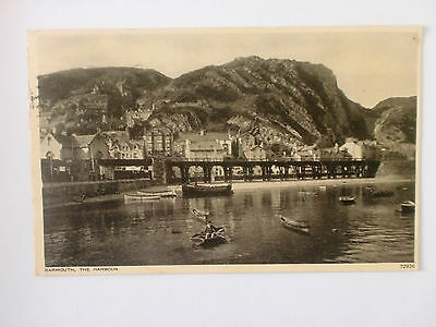 Barmouth Harbour Wales Vintage Photochrom Postcard 1959 Fishing Boats