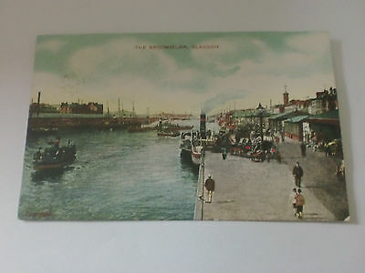 The Broomielaw Glasgow Paddlesteamer Boats GD DL Edwardian Postcard Posted 1906