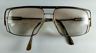 Vtg Mens Square Metal Frame Bifocal Eyeglasses Made in Japan Gold Double Frame