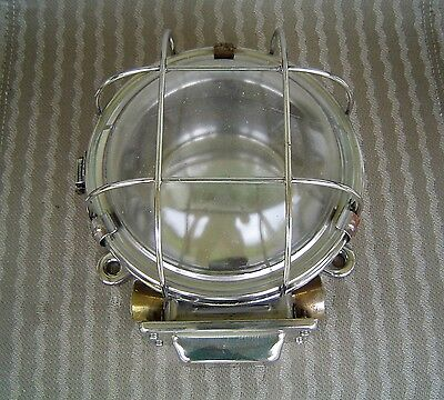 Vintage Stainless Steel Industrial Ship's Ceiling Light Fixture Rewired (Lot D)