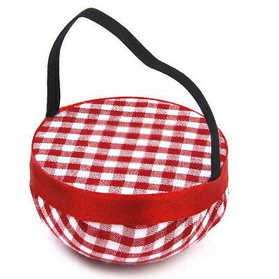 Craft Organiser Button Storage Wrist Strap Needle Sewing Pin Cushion Red Grids