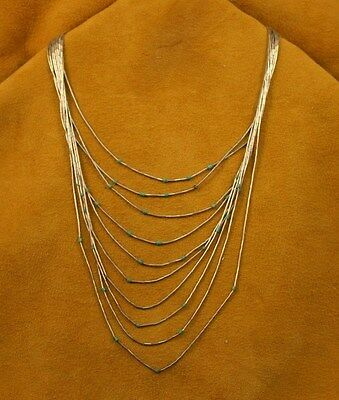 """Sterling Liquid Silver Vintage Turquoise Navajo Necklace 26"""" (10)  Strands!"""