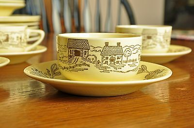 Royal China Bucks County Yellow Cup and Saucer Sets (6)
