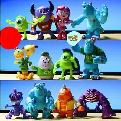 12pcs -Set Monsters Inc. Monsters University Mike Sully PVC Figure Toy -NEW!