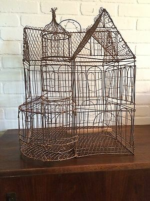 Handmade Vintage Wire Victorian Farmhouse Style Birdcage Cage House Bird