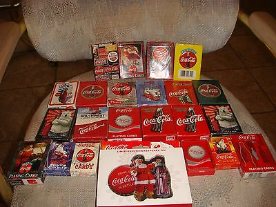 Huge lot of 23 Decks of Coca-Cola Coke Playing Cards Sealed and Open
