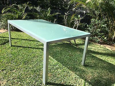 Glass Top Metal Outdoor Table