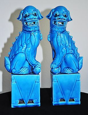 """Vintage Pair Of Turquoise Blue Porcelain Chinese Foo Dogs 12"""""""