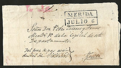 J) 1850 Mexico, Prestamp, Black Box, Circulated Cover, Interior Mail Within Meri