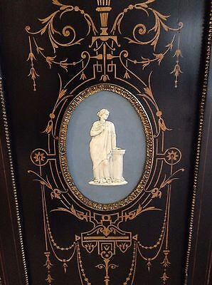 Victorian Cabinet Wedgwood Plaques Gilt Mounts Ormolu English Satinwood Inlays