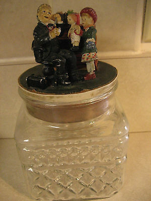 Norman Rockwell Glass Canister Doctor, Child & Doll Figurine on Corked lid