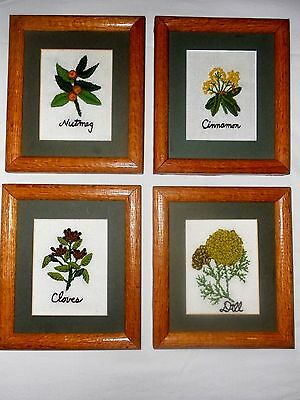 Set of 4 Handcrafted Crewel Embroidery Spices Framed Pictures Cinnamon Nutmeg