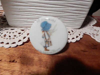 Vintage Holly Hobbie Blue Girl  Door Knob Fill Your World With Happiness